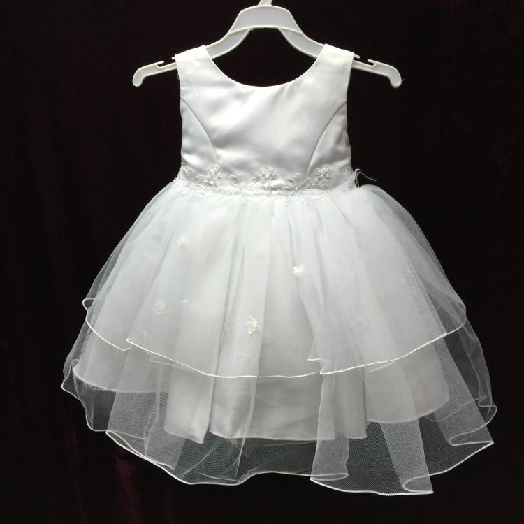 Free Shipping Formal 0 2 Years Toddler Girl Dresses Low Price Tulle Baby Christening Gowns Solid Lace Feata Infant Dress White in Dresses from Mother Kids