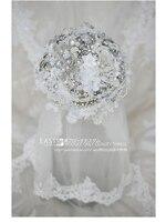 Свадебный ручной цветок невесты Свадебный сверкающий бриллиант жемчуг кружево корейский стиль букет реквизит для фотосессии