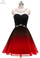 Red And Black Cocktail Short Dress Above Knee Mini Sleeveless O neck A line Beading Crystals Sequined Contrast Color Party Gown