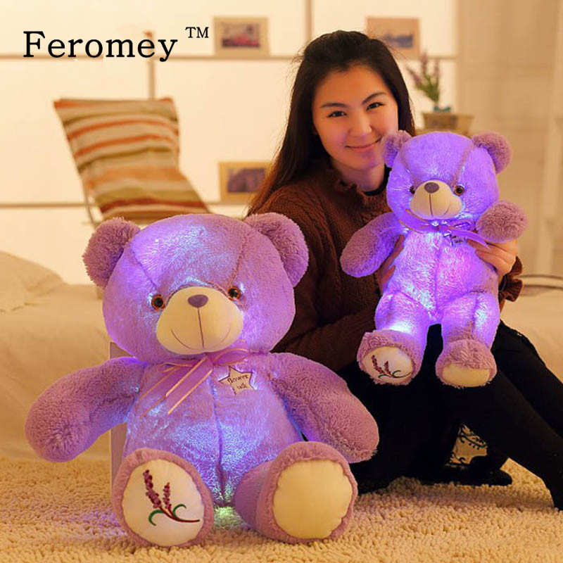 50cm Big Lavender Teddy Bear Plush Doll Toys with Led Night Light Kawaii Purple Light Up Teddy Bear Luminous Toys Children Gift недорго, оригинальная цена
