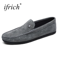 Ifrich New Arrival Mens Loafers Leather Summer Autumn Casual Men Shoes Black Khaki Mens Fashion Driving