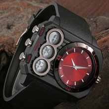 Men Sports Watches Dual Time Quartz and Electronic Watch Side Digital Display Watch Silicone Wristwatches Relogio Masculino