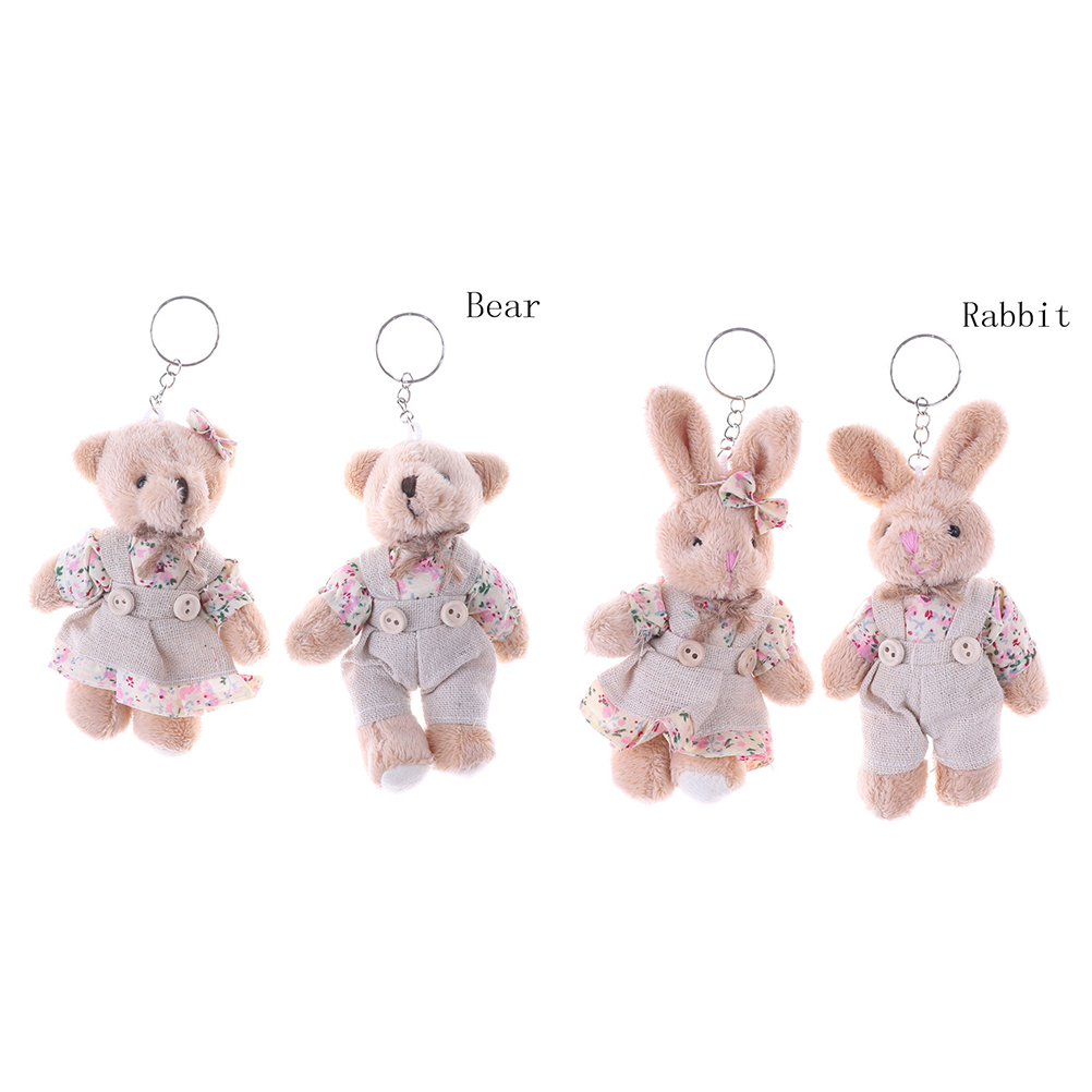 1 Pair 11cm Floral Cloth Teddy Bear Rabbit Bunny Dolls Key Bag Pendants Couple Bear Rabbit Plush Keychain  Lovers Friends Gift