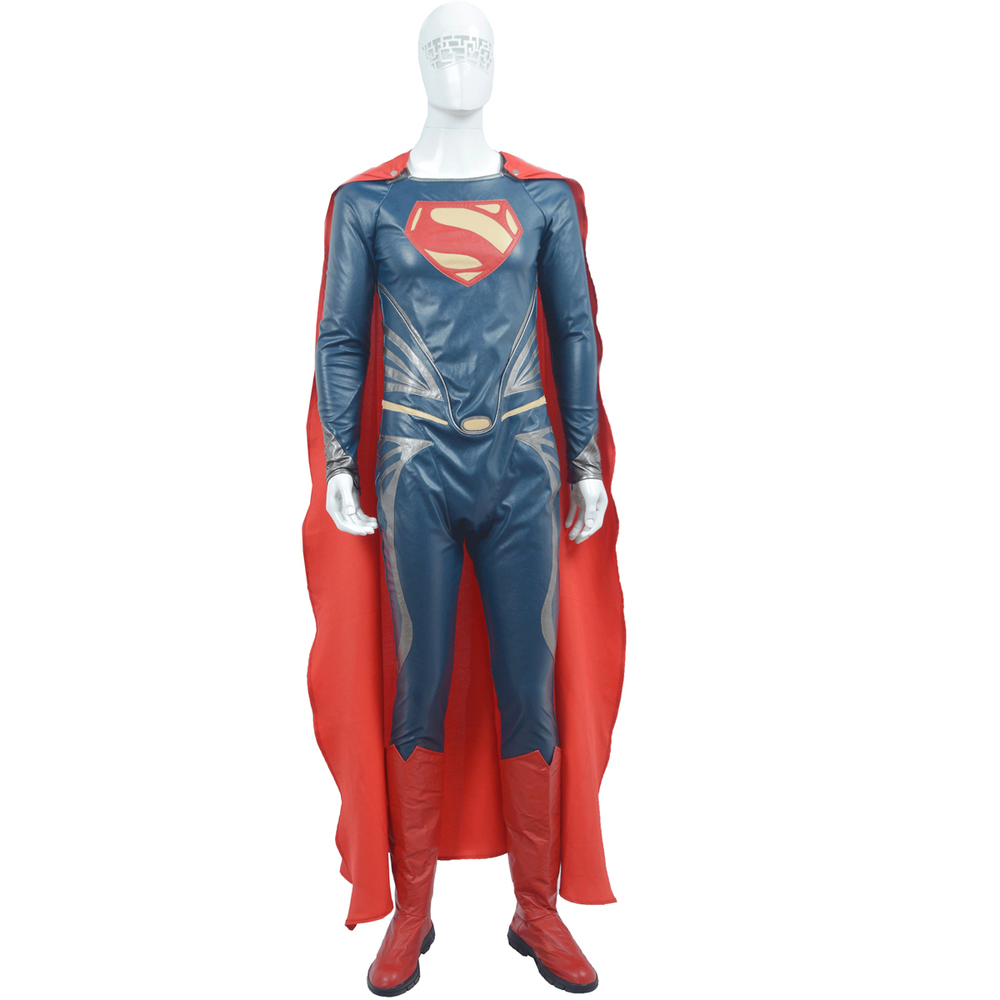 Hot Movie Superman cosplay costume Superhero costume Faux leather Cool Jumpsuit for adult men full body suit cape