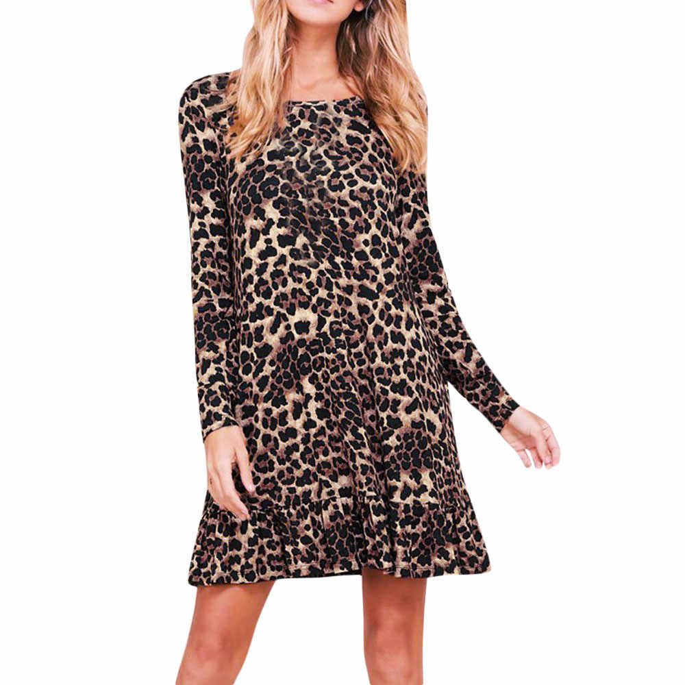 2018 Autumn Dress Women Sexy O Neck Leopard Print Mini Dress Long Sleeve  Party Club Wrap b0cc9dc3d94f