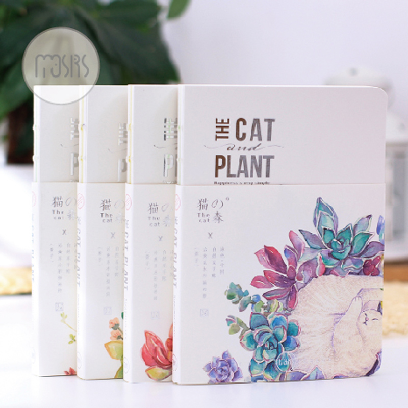 cartoon The Cat & Plant notebook journal diary book planner hand books note pad for kids kawaii stationery frost frost falling satellites 2 lp cd
