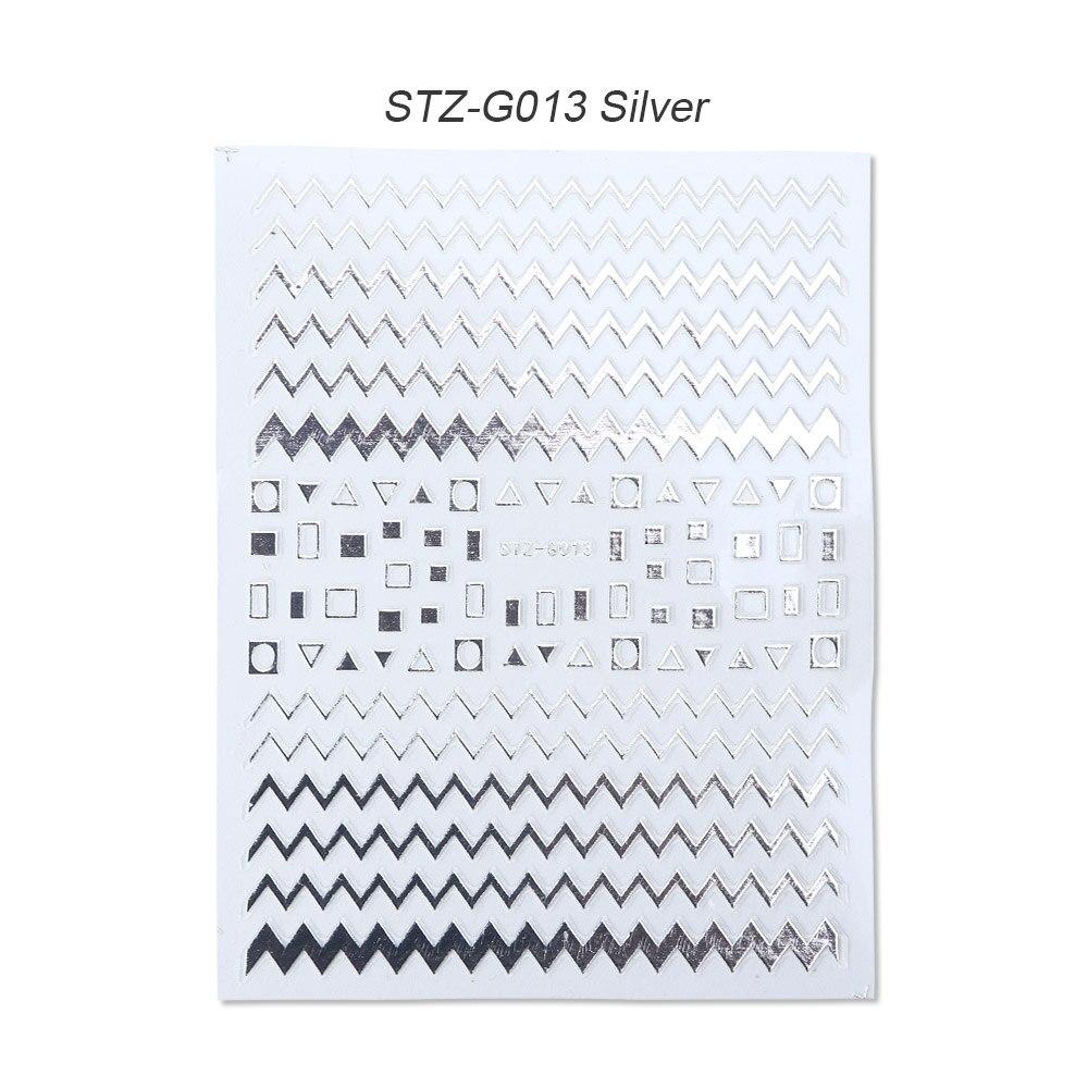 1 шт золотые Серебристые 3D наклейки для ногтей прямые изогнутые вкладыши полосы ленты обертывания геометрический дизайн ногтей украшения BESTZG001-013 - Цвет: STZ-G013 Silver