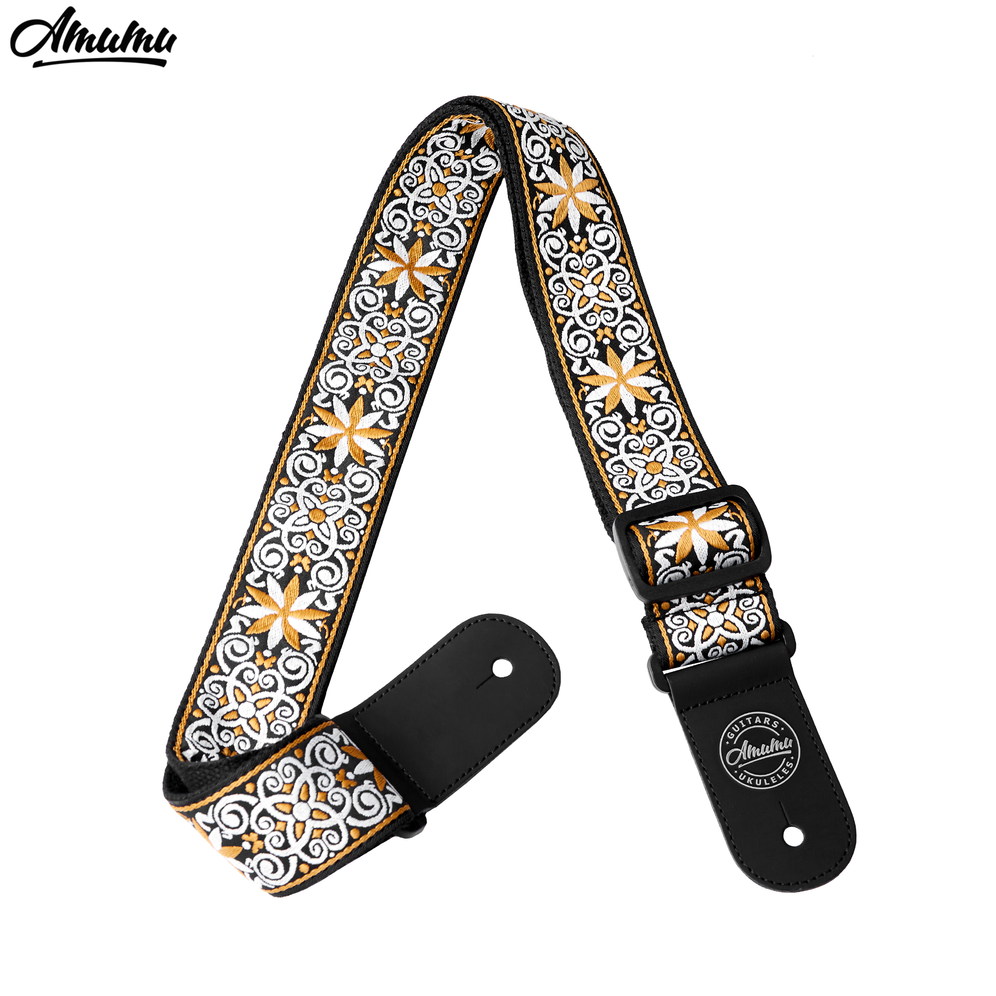 Amumu Woodstock jacquard Cotton Guitar Straps with Leather End for Folk Acoustic Electric Guitar 89-156cm Length 5cm Width S110 amumu yellow nylon guitar strap for folk guitar police do not cross pattern guitar belt s008 16