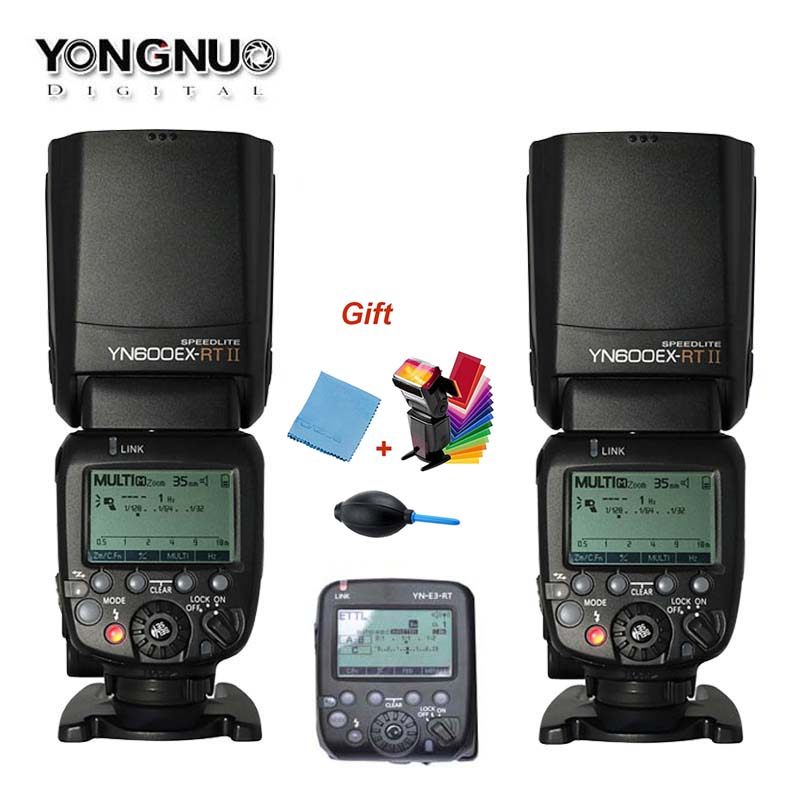 2xYONGNUO YN600EX-RT II +YN-E3-RT Master Flash Speedlite for Canon RT Radio Trigger System ,ST-E3-RT,600EX-RT yongnuo 3x yn 600ex rt ii 2 4g wireless hss 1 8000s master flash speedlite yn e3 rt flash trigger for canon eos camera 5d 6d