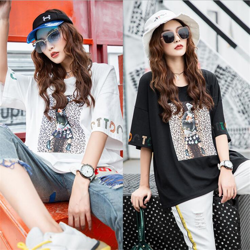 2019 Harajuku Hip Hop Women Oversize T shirt Summer Womens Casual Loose T shirts Female Korean Style short sleeve Diamonds Tops
