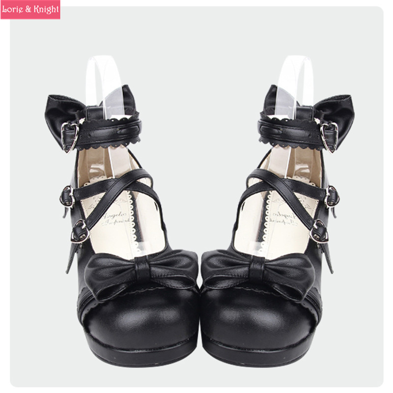 ФОТО Japanese Sweet Lolita Cosplay Bows Wedge Sandals Pearl Ankle Strap Open Toe Princess Girls Sandals Summer Shoes