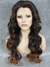 N7-PT2/30 NEW STYLE Long Realistic Charming Long Wavy Brown Omber Synthetic Lace Front Wig for Black Woman