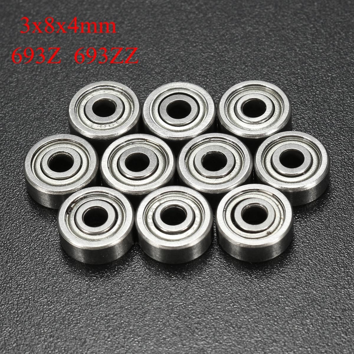 10pcs/Set 693ZZ Miniature Ball Bearings 3*8*4mm Small Double Shielded Miniature Metal Steel Bearing 10pcs lot 688zz miniature ball bearings metal double shielded miniature metal steel bearing 8x16x5mm