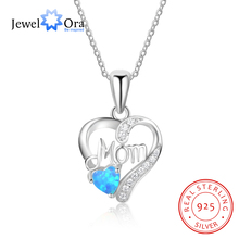 Best Gift for Mom Heart Shape Necklaces & Pendants Blue Opal With 925 Sterlilng Silver Necklace For Women (JewelOra NE102691)