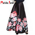 Autumn Winter 110CM Long Black Skirt Muslim Vintage Floral Printed Women Casual Maxi Ball Gown Pleated Flared Tutu Skirts Faldas