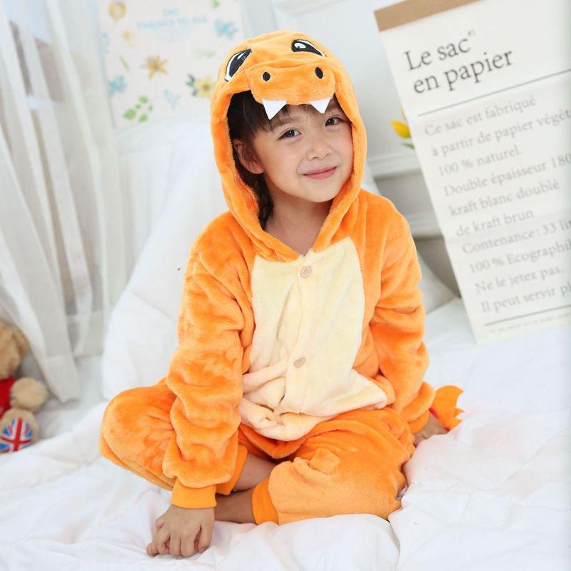Menino Menina Pijamas Crianças Kid Animal Dos Desenhos Animados Cosplay Pijama Unisex pijamas Charmander Onesie Sleepwear Com Capuz