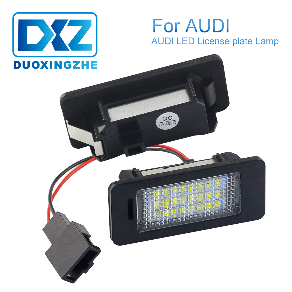 DXZ 2X Car License Plate Light 24 SMD LED Canbus Error Free for Audi A4 B8 S4 A5 S5 Q5 TT 12V 24V accessories shipping