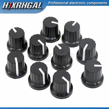 10 Pcs 6mm Shaft Hole Dia Plastic Threaded Knurled Potentiometer Knobs Caps WH148 - sale item Passive Components
