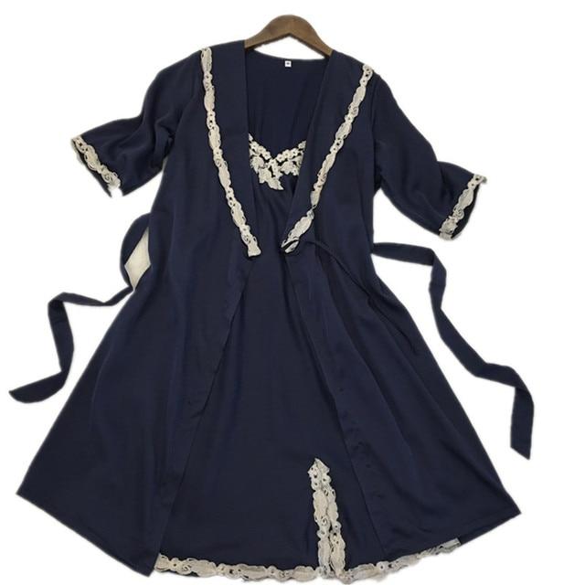 2017 Primavera Nuevas mujeres Atractivas de la Media Manga de Color Azul Traje y vestido de Seda Conjunto Satén Gecelik Mujeres Sexy Albornoz ropa de Dormir Desgaste de Interior caliente
