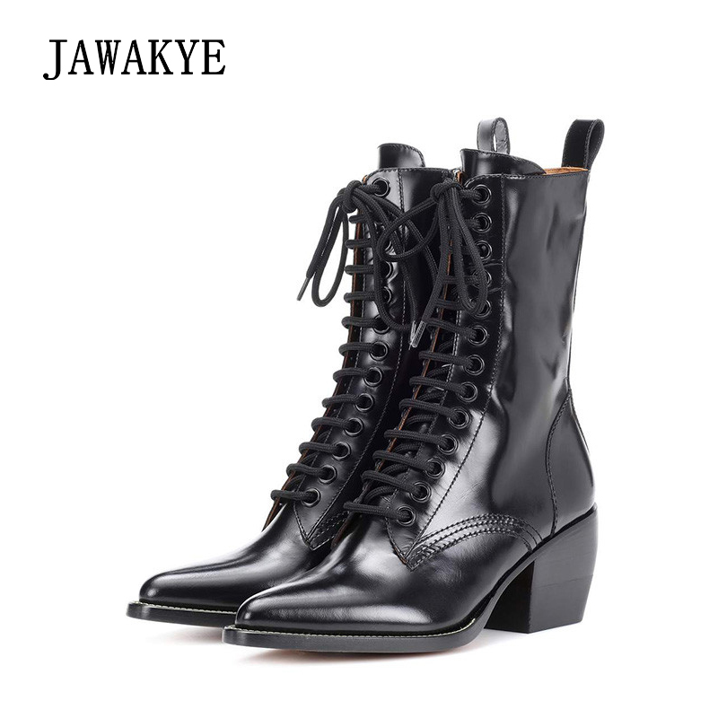 Sexy Women Boots Chunky Thick Heels Lace up Ankle Boots Women Cow Leather Short Martin boots Pointed Toe Winter Shoes Woman стоимость