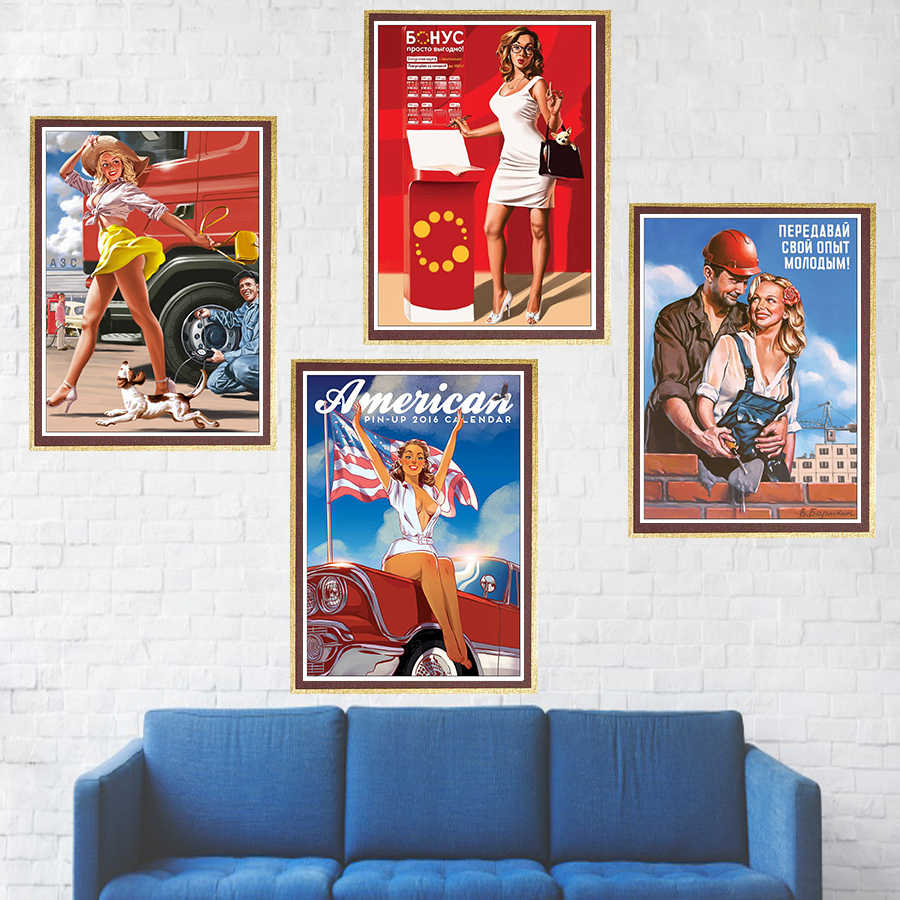 World war ii sexy pin up girl poster coated paper military bar cafe home wall decor