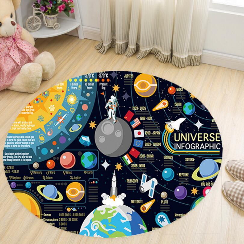 Anti skid Cartoon 3D Printing Round Shape Kids Bedroom Carpet Drawing Room Study Floor M ...
