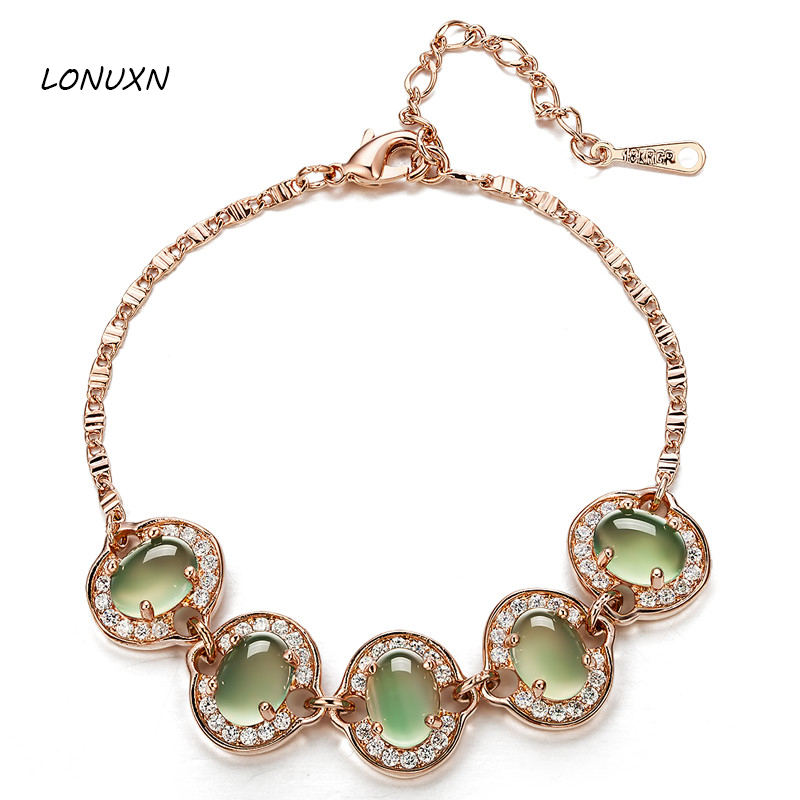 15+4.5cm high quality gold Austrian green crystal Natural semi-precious stones bracelet Women jewelry girls best lovers gift