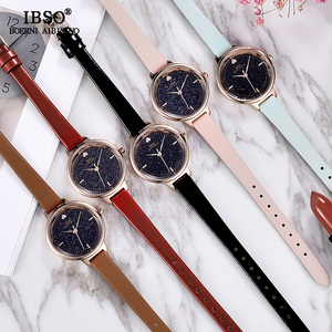 Image 2 - IBSO אופנה הניצוץ חיוג עיצוב שעונים לנשים עור רצועת שעון באיכות גבוהה נשים קוורץ שעון