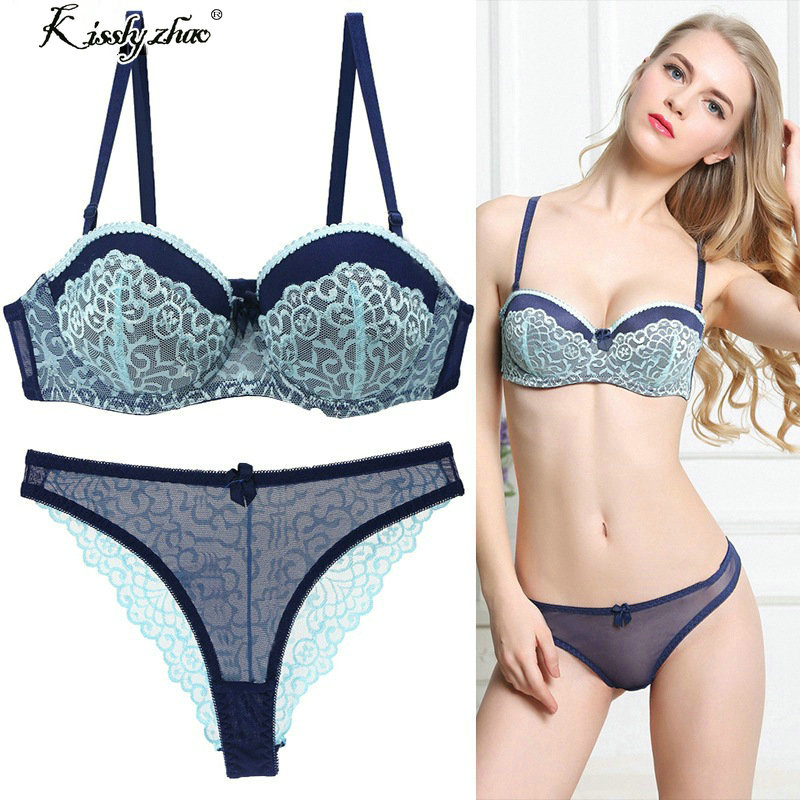 ABC 75 80 85 90 95 Thong   Bra     Set   Push Up Lace Women Underwear Panty   Set     Set   Hollow Out G String Embroidered   Bra     Brief     Sets
