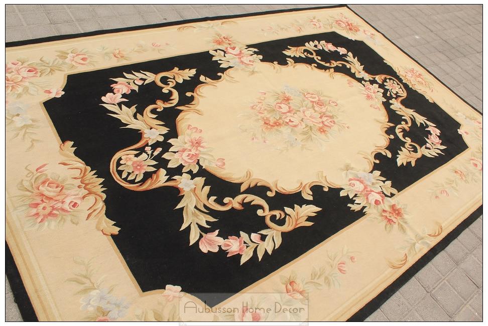 Black Ivory 6x9 Aubusson Area Rug Antique French Decor Cream Pink