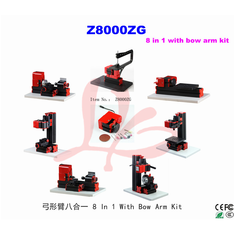 Multifunction drilling sanding machine 8 In 1 With Bow Arm Kit mini milling lathe Z8000ZG used for family or school diy 12000r min 60w all metal 8 in 1 mini lathe without bow arm milling drilling wood turning jag saw sanding machine