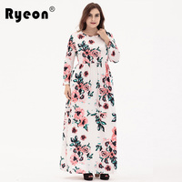 Ryeon Maxi Dresses Big Size Boho Beach Print Autumn Winter Spring Long Sleeve Tunic Sexy Bohemian
