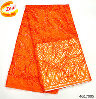 Beautifical orange african organza lace fabric 2017 high quality lace Nigerian sequins lace fabrics 5 yards For Wedding 4G170