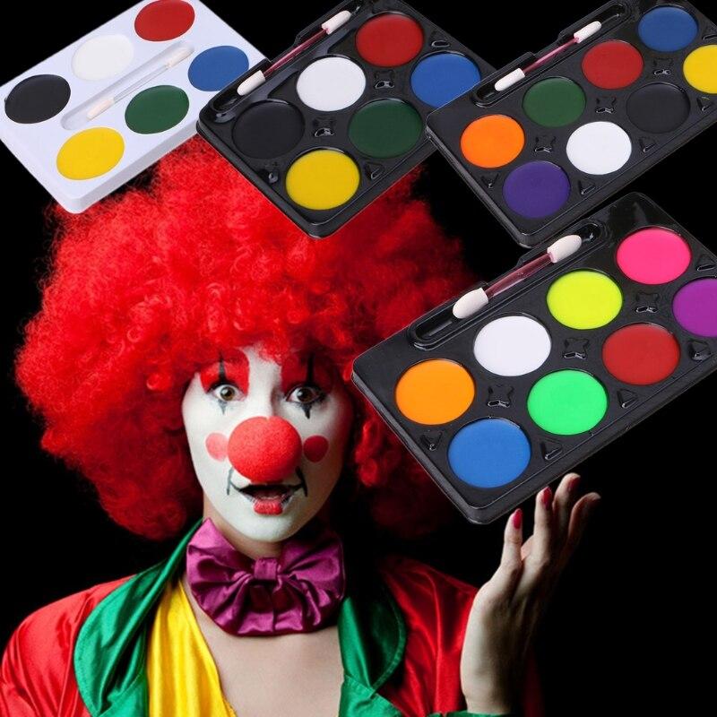 6 / 8 Colors Face Body Paint Palette Makeup Brush Set Halloween Party Stage