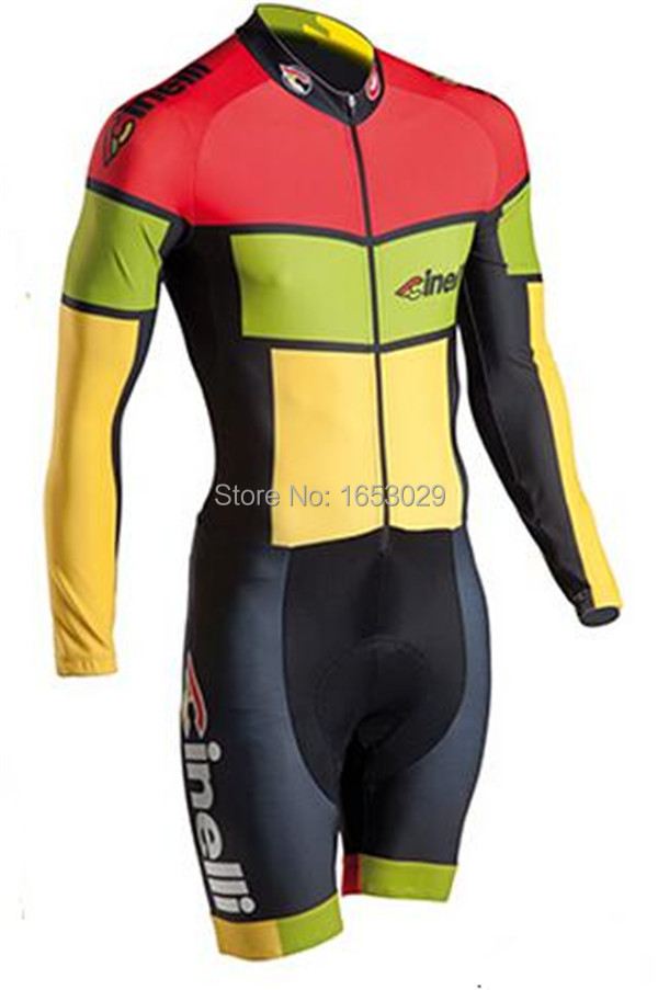 Cinelli team skinsuit red long sleeve cycling sets yellow biking Tights  green bicycle kits mountain bike skinsuit hot clothing-in Cycling Jerseys  from ... 01b543f45