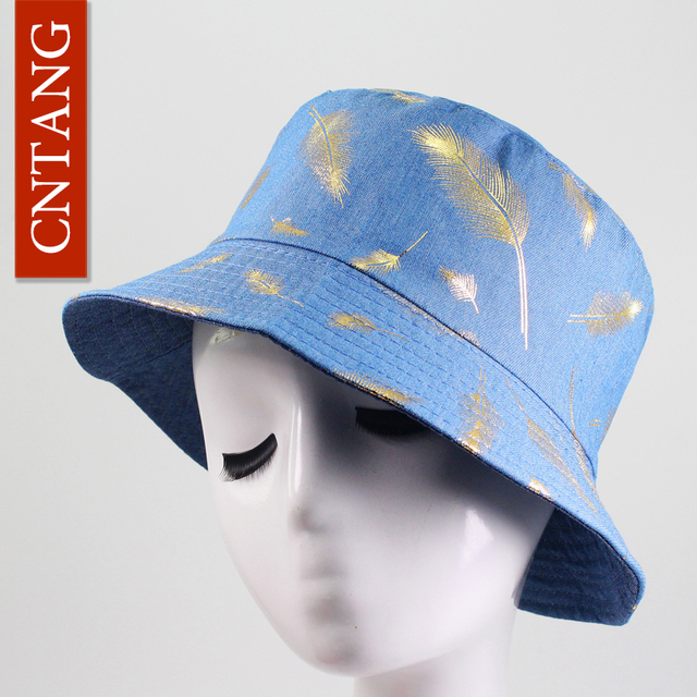 CNTANG Fashion Unisex Leaf Bucket Hat Men Women Summer Denim Sun Visor  Bucket Cap Hip Hop b2a64fd4987