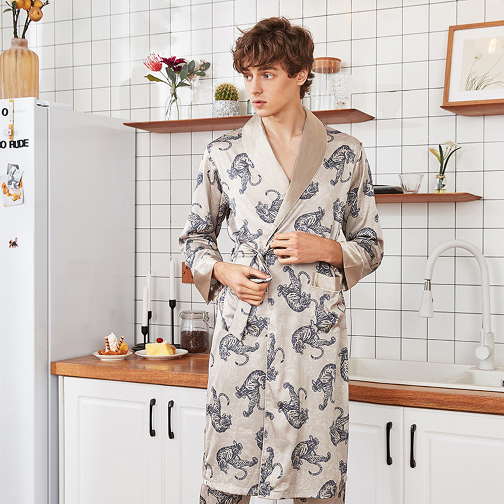 Print Tiger Sleepwear Intimate Lingerie Robe Lounge Kimono Bathrobe Gown Nightdress Rayon Homewear Nightgown Men Nightwear