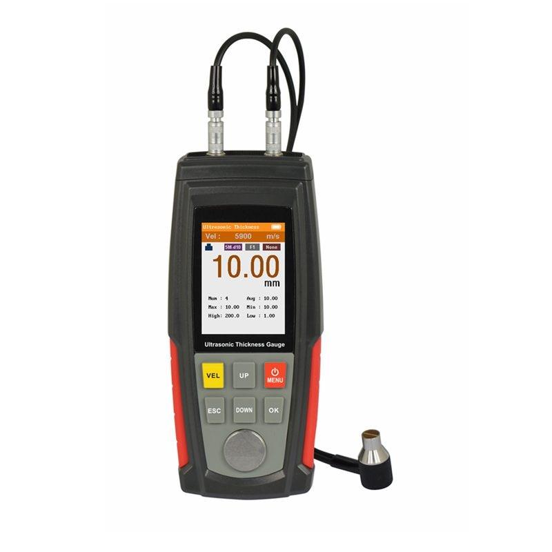Портативный ультразвуковой толщиномер 1,00~ 225,0 мм Цифровой листовой металл пластик стекло толщина тест цветной ЖК-дисплей измеритель скорости звука