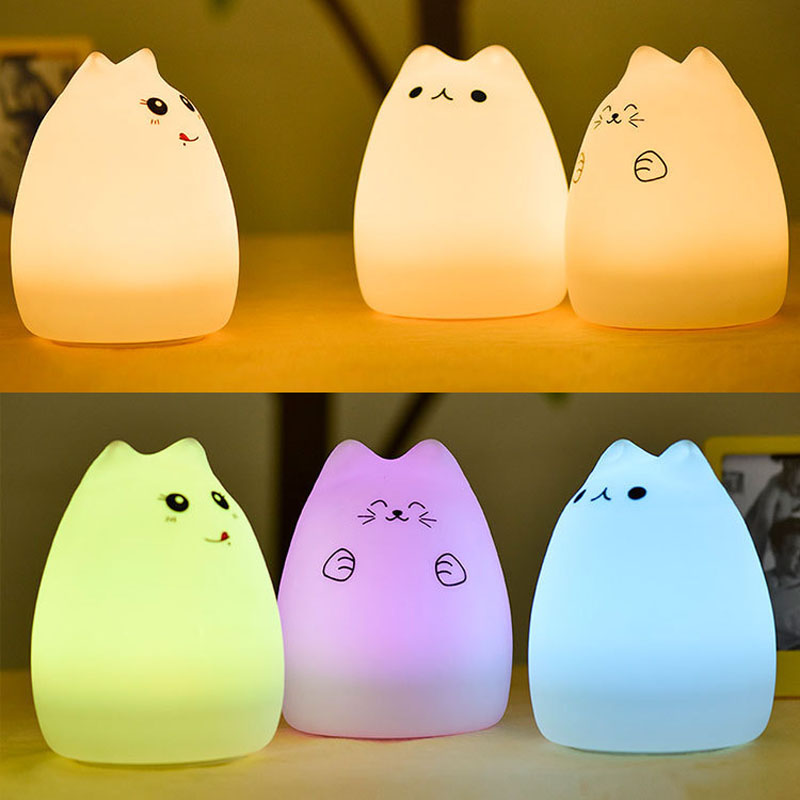USB Rechargeable LED Colorful Night Light Cat Silicone Soft Cartoon Baby Nursery Lamp for Children Gift