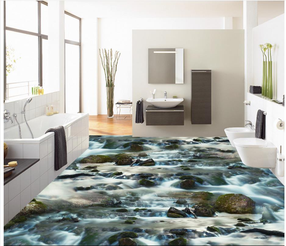 Merveilleux River Rock Stream Bathroom Bathroom Be Pvc Floor Wallpaper Home Decoration  Waterproof Wallpaper For Bathroom 3d