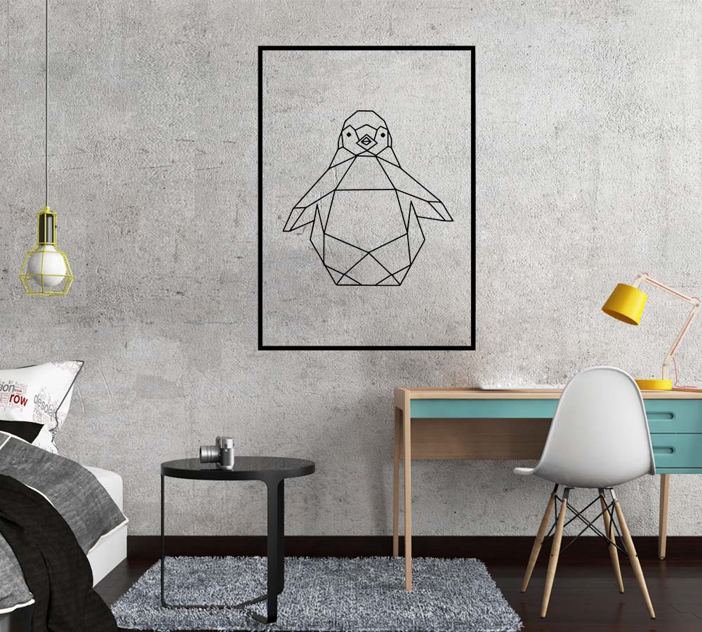 Cartoon Style geometry Penguin Art Sticker Waterproof Wall Stickers For Home Decor Living Room Bedroom Decal Creative Stickers in Wall Stickers from Home Garden