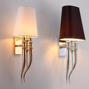 Lámpara led creativa de pared moderna para hoteles, lámparas de pared de hierro para comedor, sala de estar, dormitorio, candelabro de doble cabeza AC85-265V, accesorios de iluminación