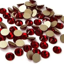 Strass Stone Siam Color All Size 1 Bag Non Hotfix Rhinestones Flatback Glass Nails Decorations For Nail Art Designs