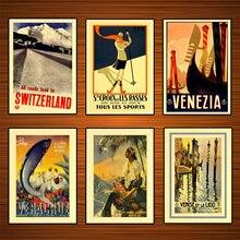Retro mundo Posters de viajes Venecia adhesivo mural clásico de lona pinturas decorativo Vintage cartel Bar decoración regalo