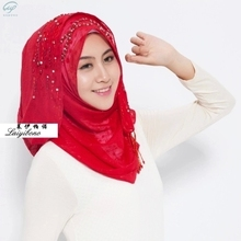 Muslim Hijab Inner Cap Women Plain Hijabs Muslim Direct Selling Adult Polyester Diamonds Chiffon Formal New Diamond Women's
