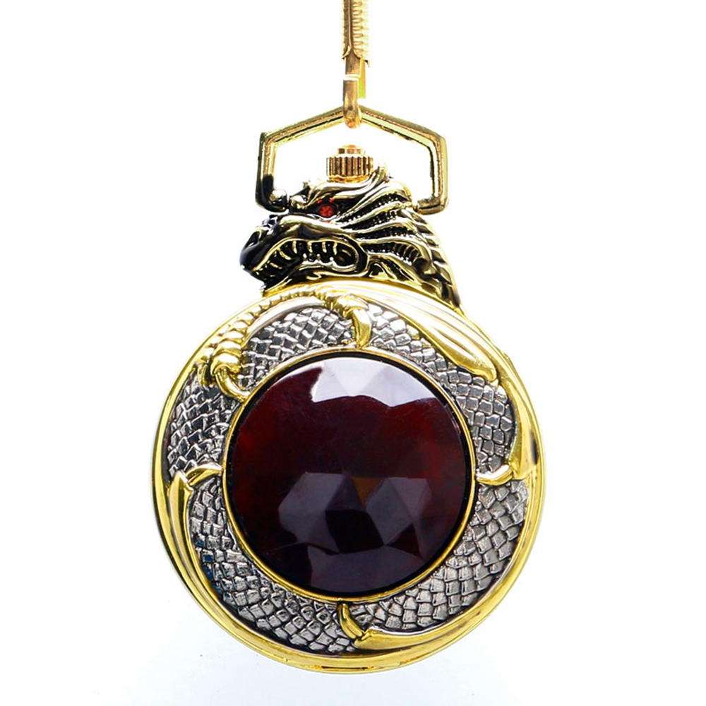 Luxury Evil Dragon Pocket Watch Red Garnet Inset Pendant Quartz Clock Gold Tone Case Black Dial Big Red Crystal New Relogio