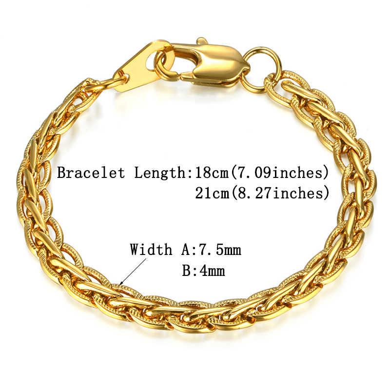 Bracelet Men Women Jewelry Silver/Gold Color Embossed Flat Chain Link Bracelet Wholesale Braslet Male Female Gift Vintage