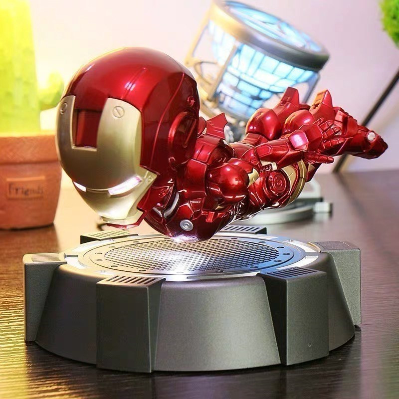 Cosplay Magnetic Floating Maglev Iron Man LED Flash Light Figure Doll Collection Magnetically Levitated Toy Iron Man Figure Prop