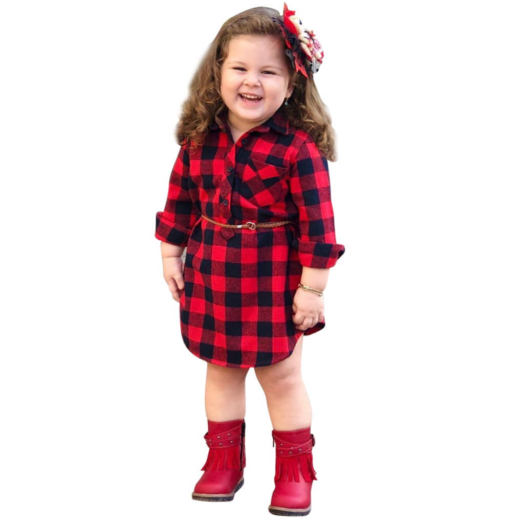 Outfits Dresses Clothing Print Plaid Toddler Girls Kids Children Infant Baby Belt