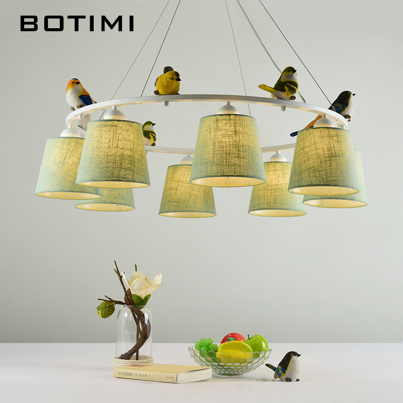 BOTIMI Colors Birds LED Chandelier with Lampshades E27 Fabric Chandeliers For Living Room Bedroom Hanging Lighting Fixtures modern crystal chandelier led hanging lighting european style glass chandeliers light for living dining room restaurant decor
